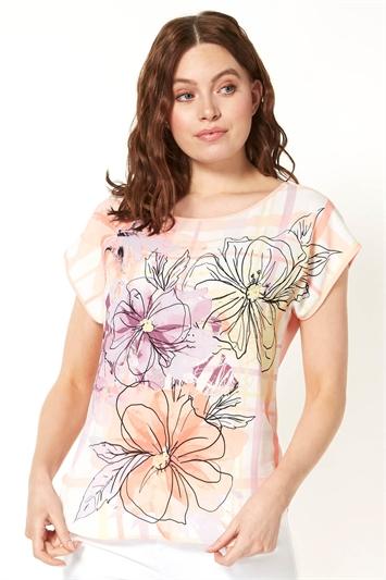 Floral Check Print T-Shirt