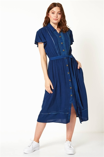 Embroidered Midi Length Shirt Dress