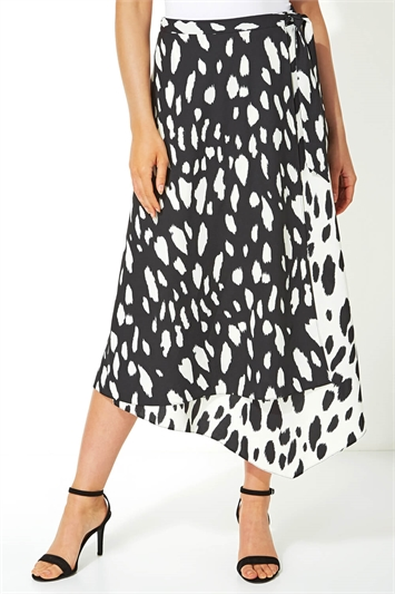 Contrast Spot Wrap Midi Skirt