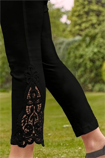 Lace Insert Crop Stretch Trousers