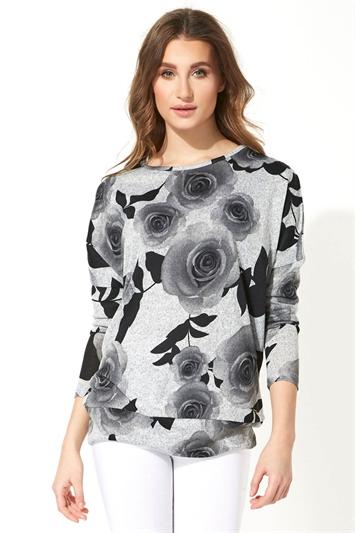 Grey Rose Floral Print Long Sleeve Top, Image 1 of 8