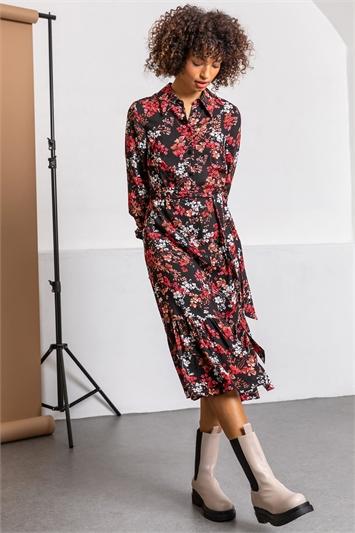 Black Tiered Floral Midi Shirt Dress, Image 1 of 5