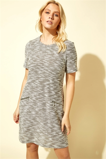 Tweed Zip Pocket Shift Dress