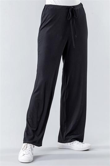 Black Wide Leg Lounge Yoga Pants, Image 1 of 4