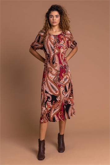 Rust Paisley Print Midi Tea Dress, Image 1 of 5