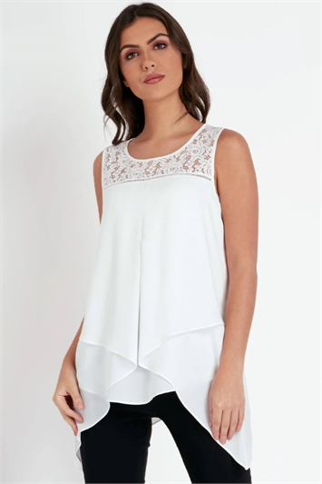 Lace Yoke Asymmetric Top