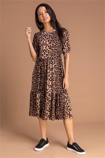 Brown Animal Print Tiered Dress