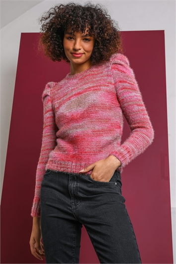 Rose Puff Sleeve Abstract Print Jumper