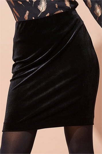 Velvet Knee Length Pencil Skirt