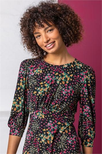 Black Ditsy Floral Print Top