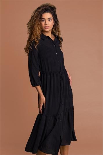 Black Textured Button Through Midi Dress