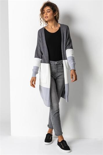 Grey Longline Colourblock Cardigan