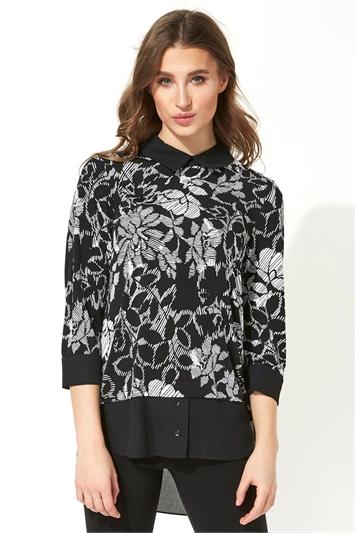 Contrast Hem Floral Print Shirt