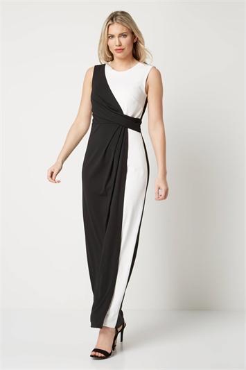 Monochrome Maxi Wrap Dress