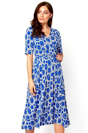 Spot Printed Fit and Flare Dress