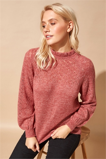 Frill Neck Pointelle Knitted Jumper