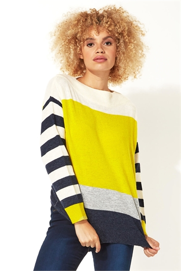Colour Block Stripe Slash Neck Jumper