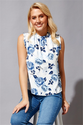 Floral Frill Detail Top