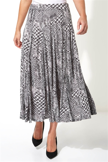 Abstract Dogtooth Burnout Skirt