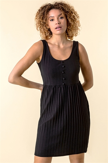Ribbed Button Detail Sun Dress