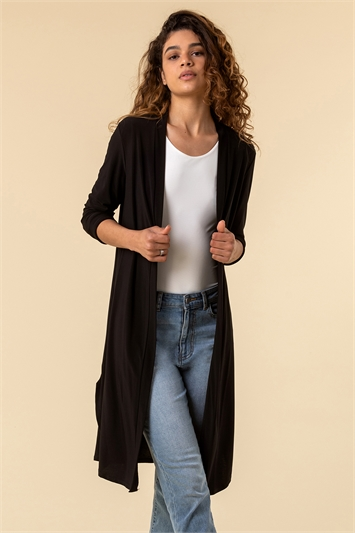 Black Longline Jersey Kimono Jacket
