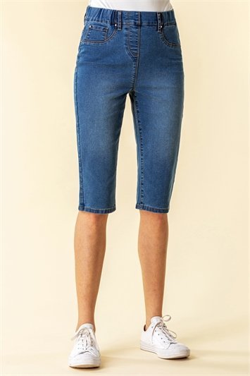 Denim Stretch Knee Length Pedal Pusher