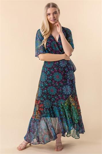 Abstract Print Maxi Wrap Dress