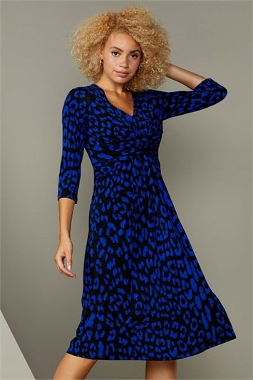 Royal Blue Animal Print Fit And Flare Dress