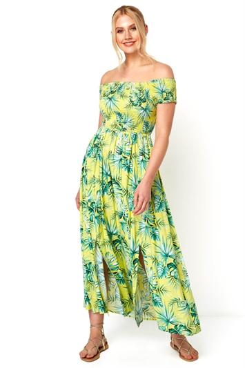 Tropical Bardot Maxi Dress