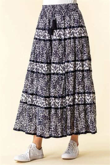 Floral Print Tiered Maxi Skirt