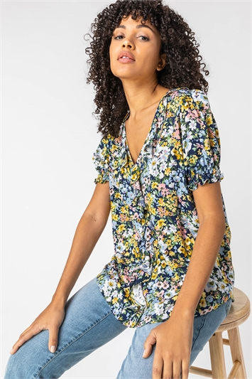 Blue Floral Print Frill Detail Blouse, Image 1 of 5