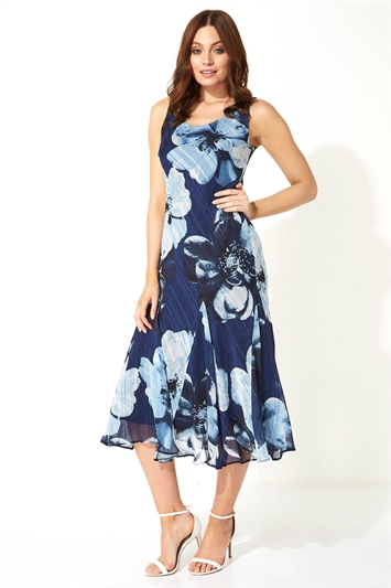 Floral Bias Cut Midi Dress