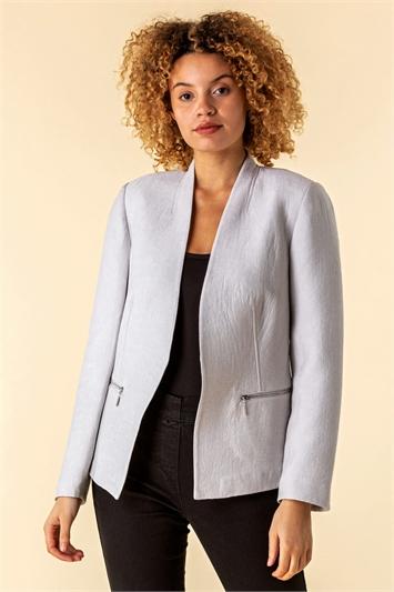 Light Grey Zip Detail Pleated Jacket