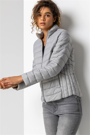 Light Grey Lightweight Padded Coat