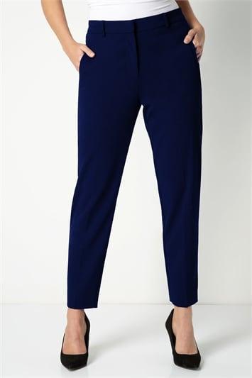 Navy Long Straight Leg Tapered Trouser, Image 1 of 3