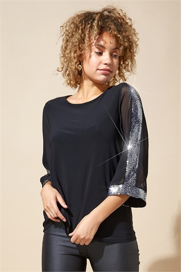 Contrast Sparkle Sleeve Top