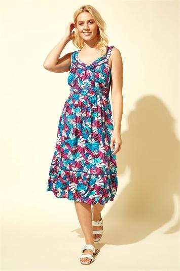 Palm Print Midi Length Sun Dress