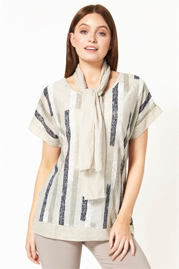 Abstract Stripe Print Top with Scarf