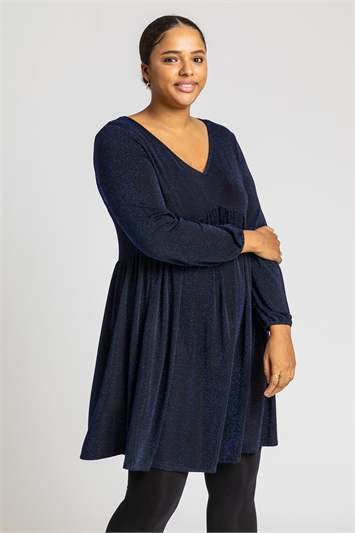 Royal Blue Curve Lurex Sparkle Swing Dress