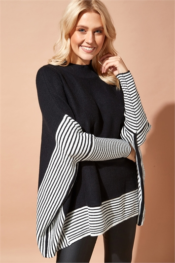 One Size Stripe Knit Poncho Jumper