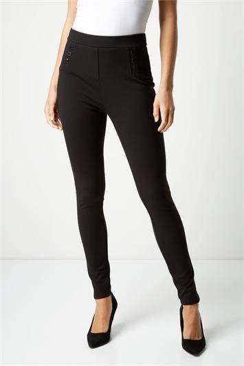 Popper Detail Ponte Trousers