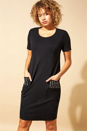 Pocket Stud Detail Slouch Dress