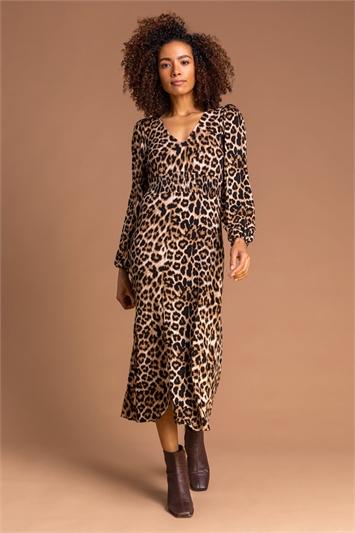 Neutral Animal Print Midi Dress