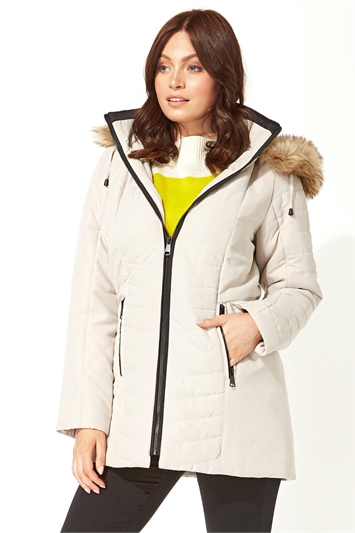 Faux Fur Trim Padded Coat