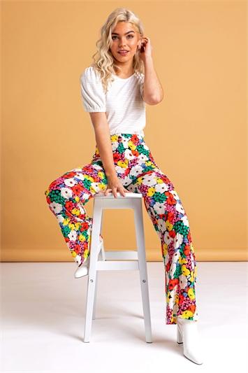 Contrast Floral Wide Leg Trouser