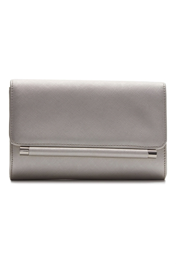 Metallic Foldover Metal Bar Clutch Bag