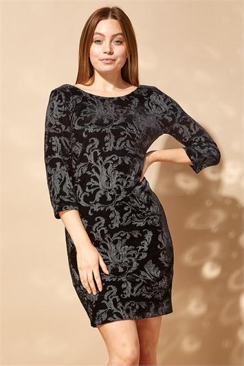 Embroidered Velvet Fitted Dress