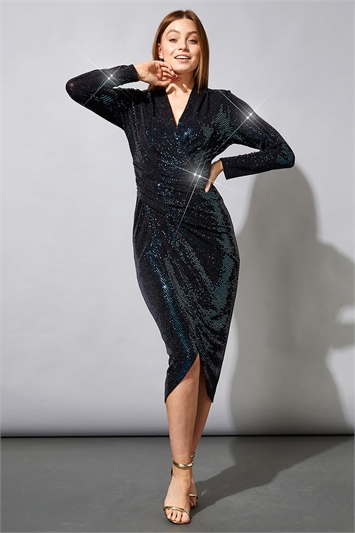 Sequin Embellished Wrap Dress