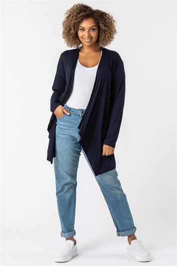Navy Curve Waterfall Front Jersey Cardigan
