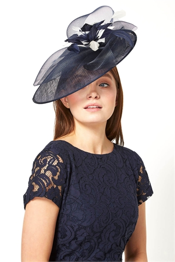 Contrast Sinamay Disc Fascinator